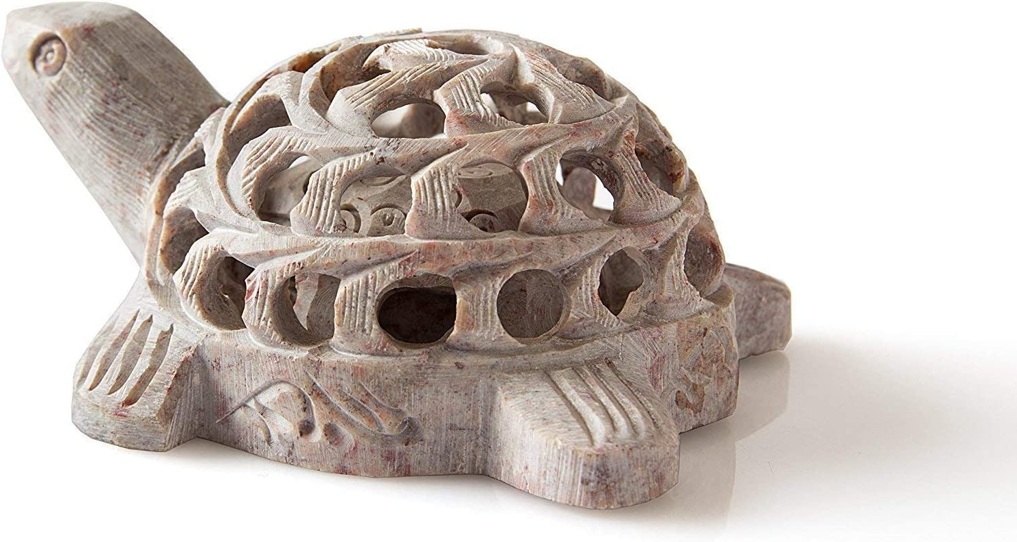 ABHANDICRAFTS Black Deals Friday Cyber Deals Monday Sales Offer Hand Carved Lucky Mother Turtle with Baby Turtle Inside Soapstone Figurines Jaali Work Turtle, A Symbol of Good Luck