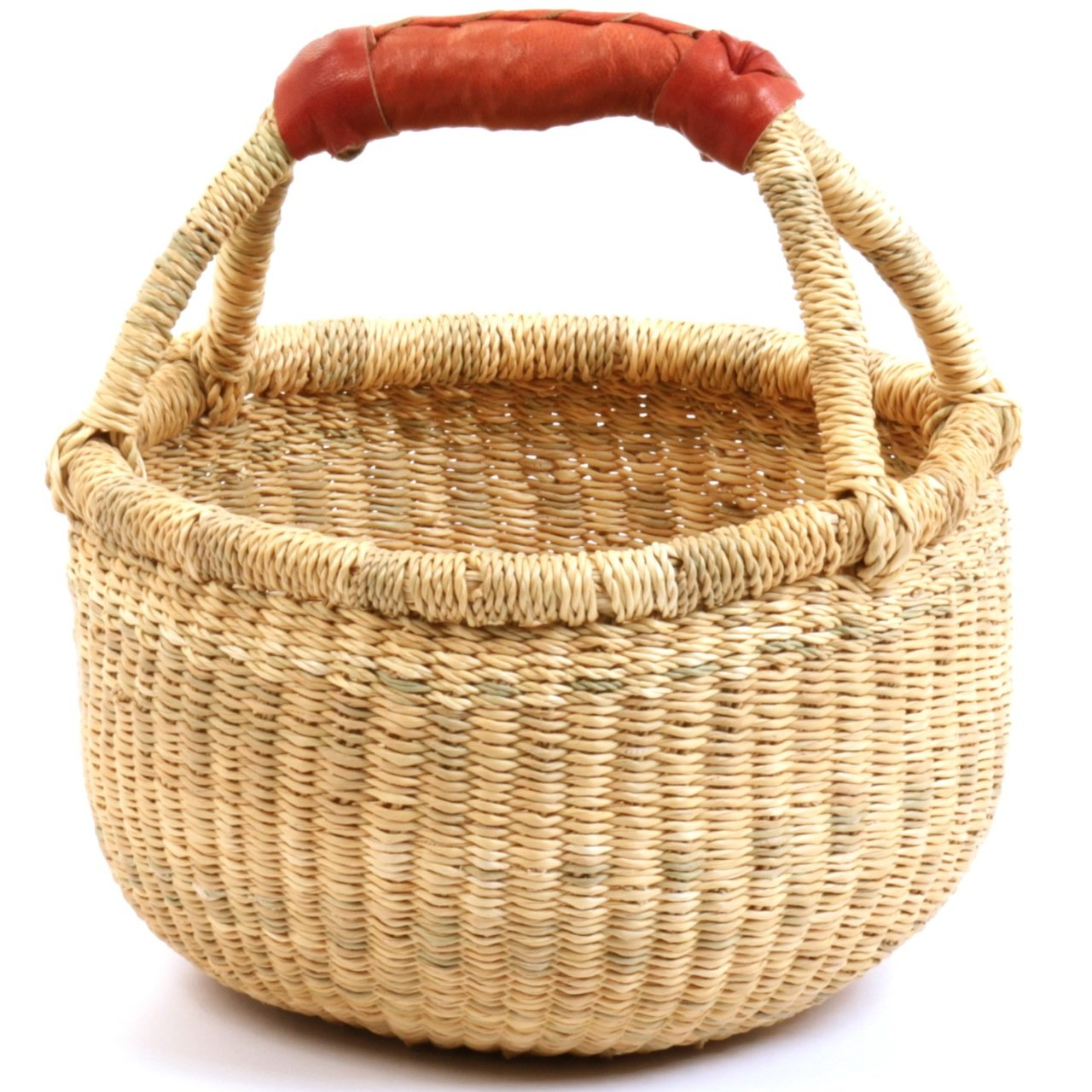 Fair Trade Dye-Free Fully Shaped Mini Market Basket 7-9'' Across, 20122, Made in Bolga, Ghana, West Africa Exclusively for: Fair Trade Gifts and Home Decor by Baskets of Africa