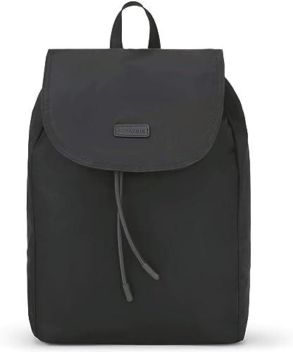 Backpack Women Black – Expatri Clara Fashion Daypack Made of Nylon – Stylish Leisure Rucksack Lightweight Small – Modern Ladies Bag, Magnetic Closure Water-Repellent