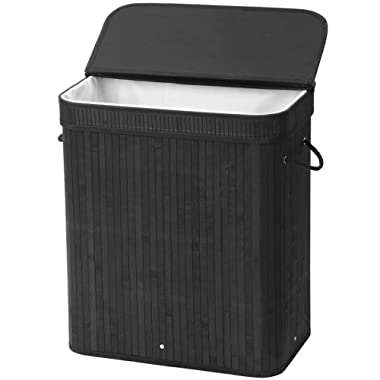 SONGMICS Bamboo Laundry Hamper Storage Basket Foldable Dirty Clothes Bin Box with Lid Handles and Removable Liner Rectangular 100L Black ULCB63H