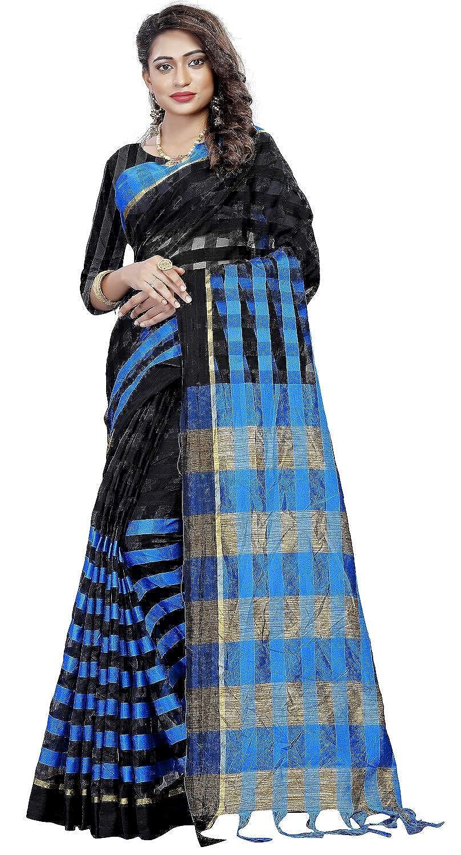 Nena Fashion Cotton Saree With Blouse Piece (black rama chennai