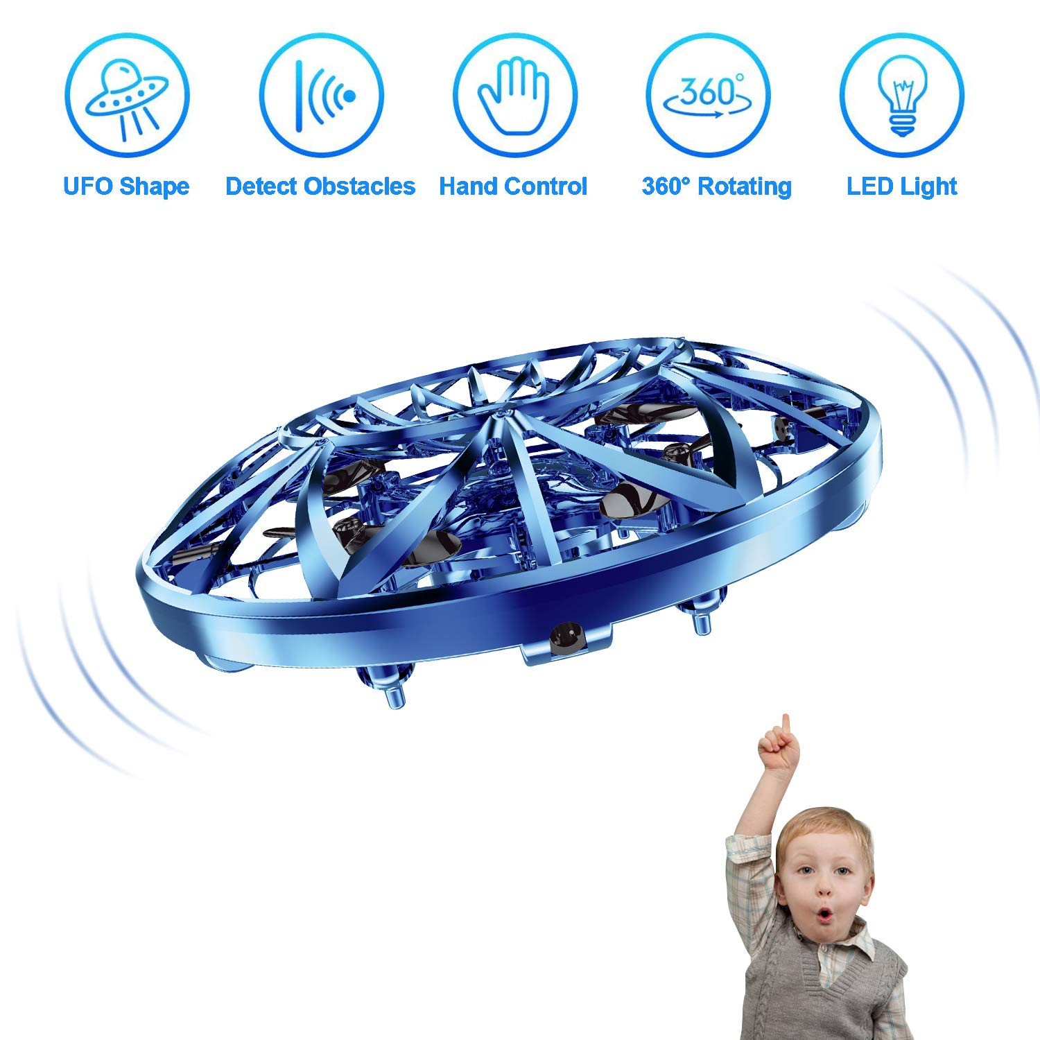 Hand Operated Drones for Kids,Hands Free Mini Drone Flying Ball Toys for Kids,Gift for Boy or Girl(Blue) by Tagitary