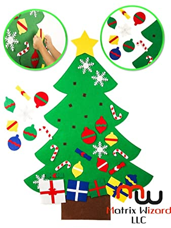 new diy wall and window hanging fun felt christmas tree with cute velcro holiday ornaments