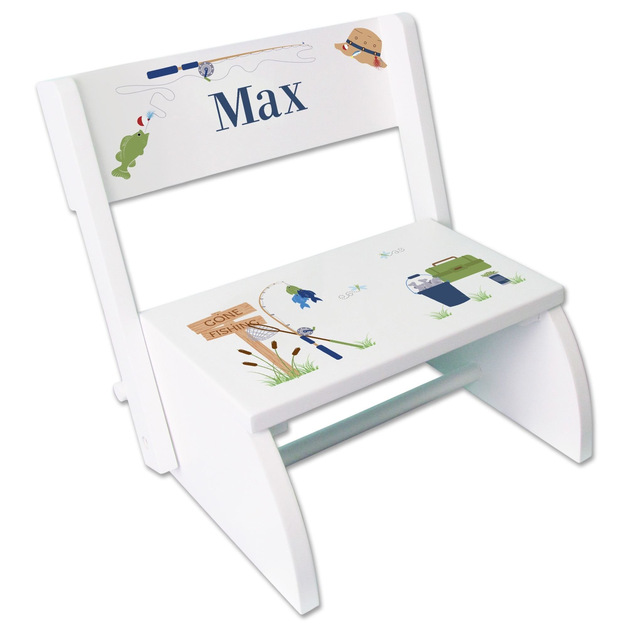 Personalized Gone Fishing White Wooden Folding Stool and Seat