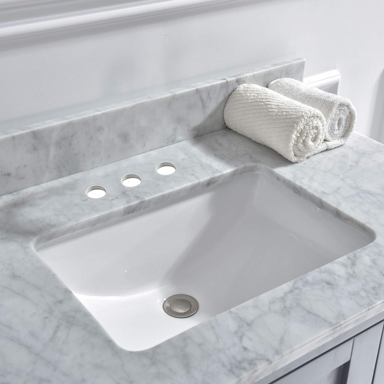 61X22 Double Carra Woodbridge CAVT6122D-1 61 x22 Vanity Top with Under Mount Rectangle Bowl Natrual Marble Stone Single Faucet Hole Carrara White CAVT6122-1 D