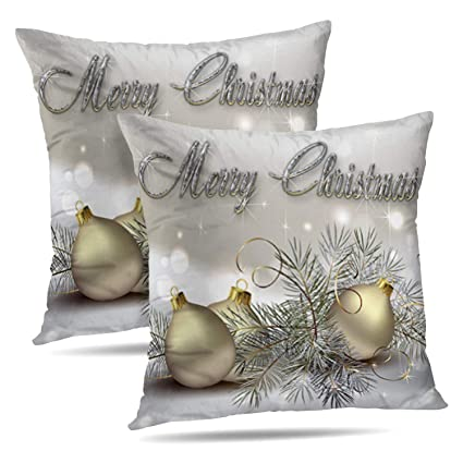 Darkchocl Set of 2 Daily Decoration Throw Pillow Covers Gold Silver Shimmer  Christmas Ornaments Square Pillowcase Cushion for Couch Sofa or Bed Modern  ...