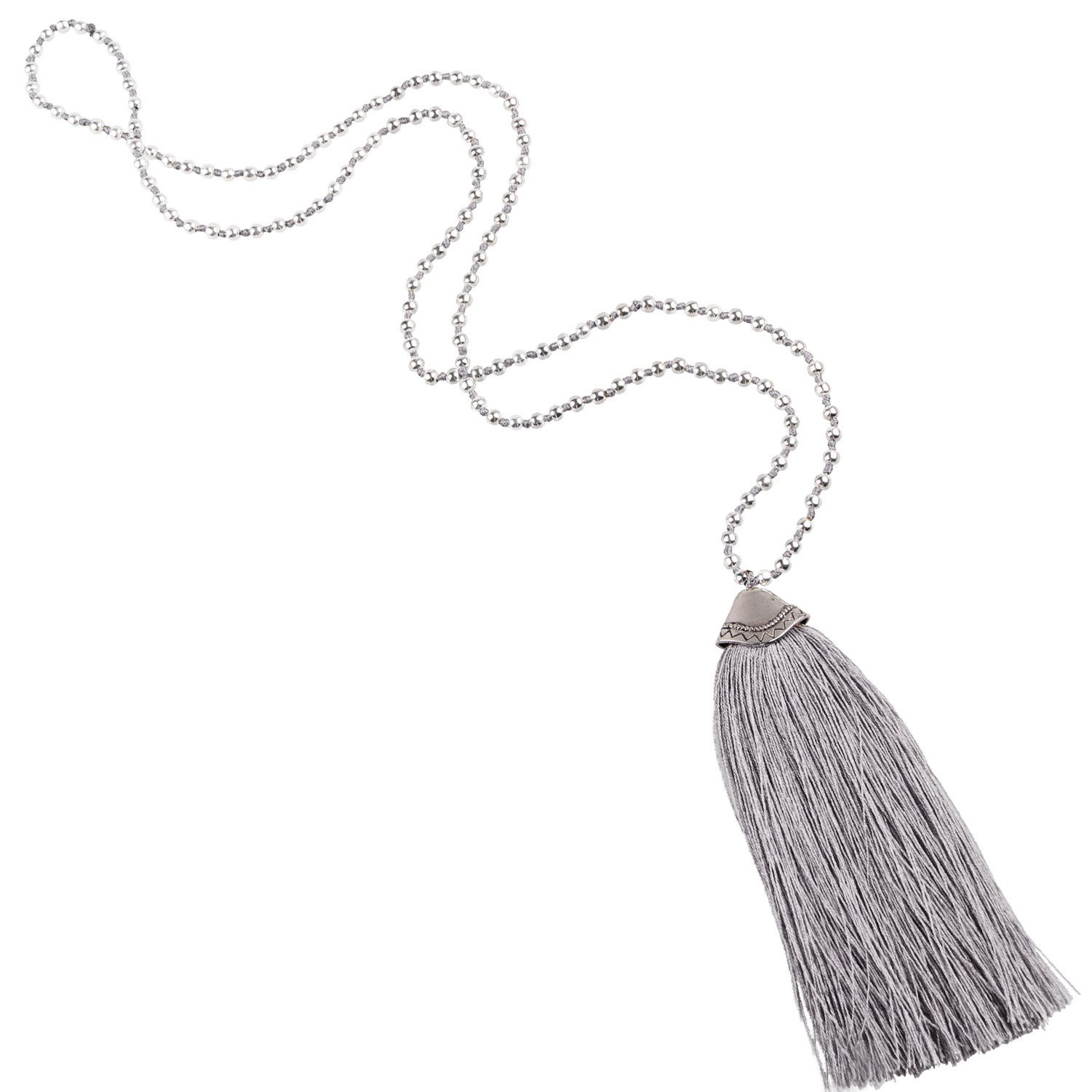 KELITCH Silver Plated Round Beaded Necklaces Handmade Color Tassel Long Pendants Necklace Fashion 32'' (Grey) by KELITCH