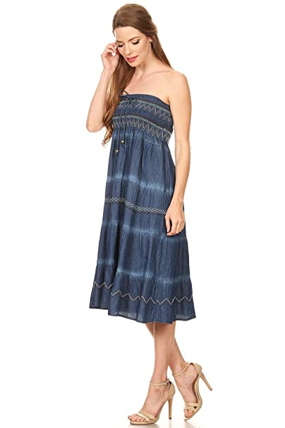 c0879aad11 Fit and Flare Tiered Layers Denim Skirt or Midi Dress Smocked Strapless Top  in Washed Blue One Size at Amazon Women s Clothing store