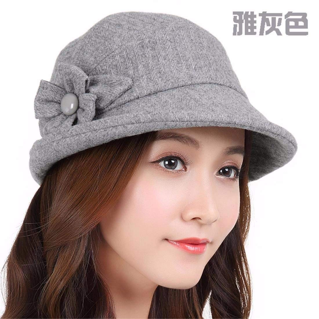 Thundertechs The Elegant English hat Winter HAT Winter HAT Female Autumn Small volumes of The New Cap (Color : Grey, Size : S (54-56CM))