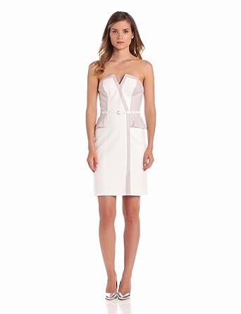 Rebecca Taylor Women's Sateen Strapless Dress, White Combo, 0