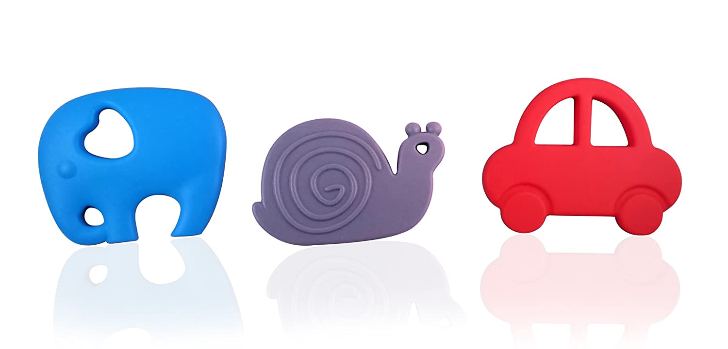 Teething Toy Set - Elephant, Snail and Car BPA Free Silicone Teethers by Mommy's Touch   B01EIUD7RK