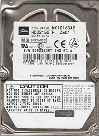 Amazon.com: mk1016gap, D0/u1.13 a, hdd2152 F ze01 T, Toshiba ...