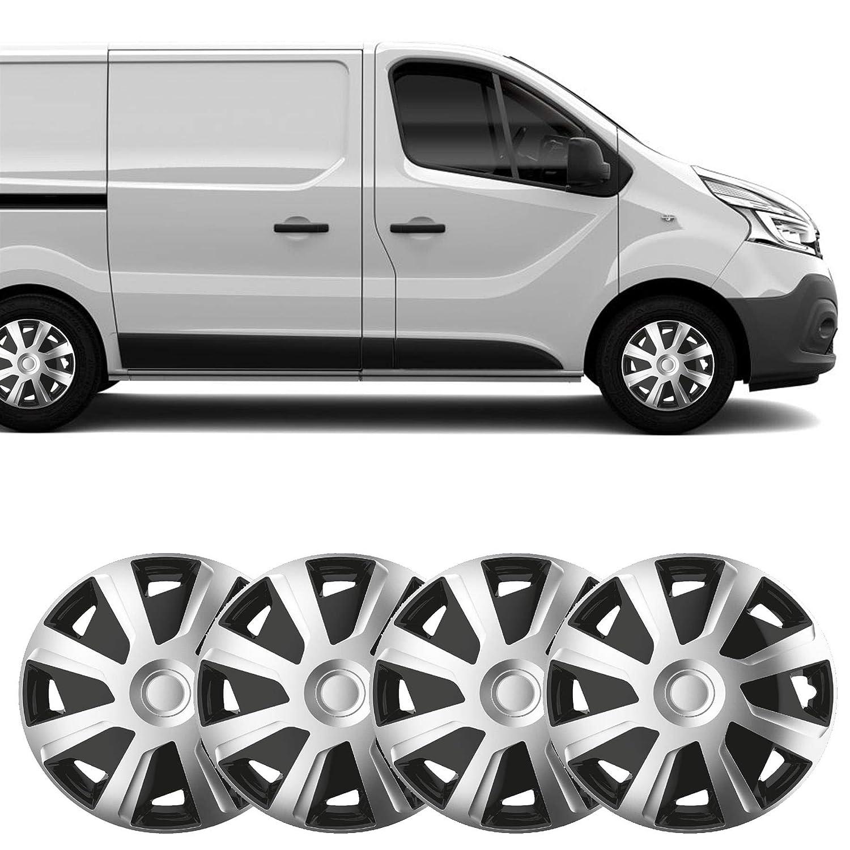 UKB4C 4 x 16 Silver Black Van Trim//Hub Caps Deep Dish Alloy Look fits Renault Trafic