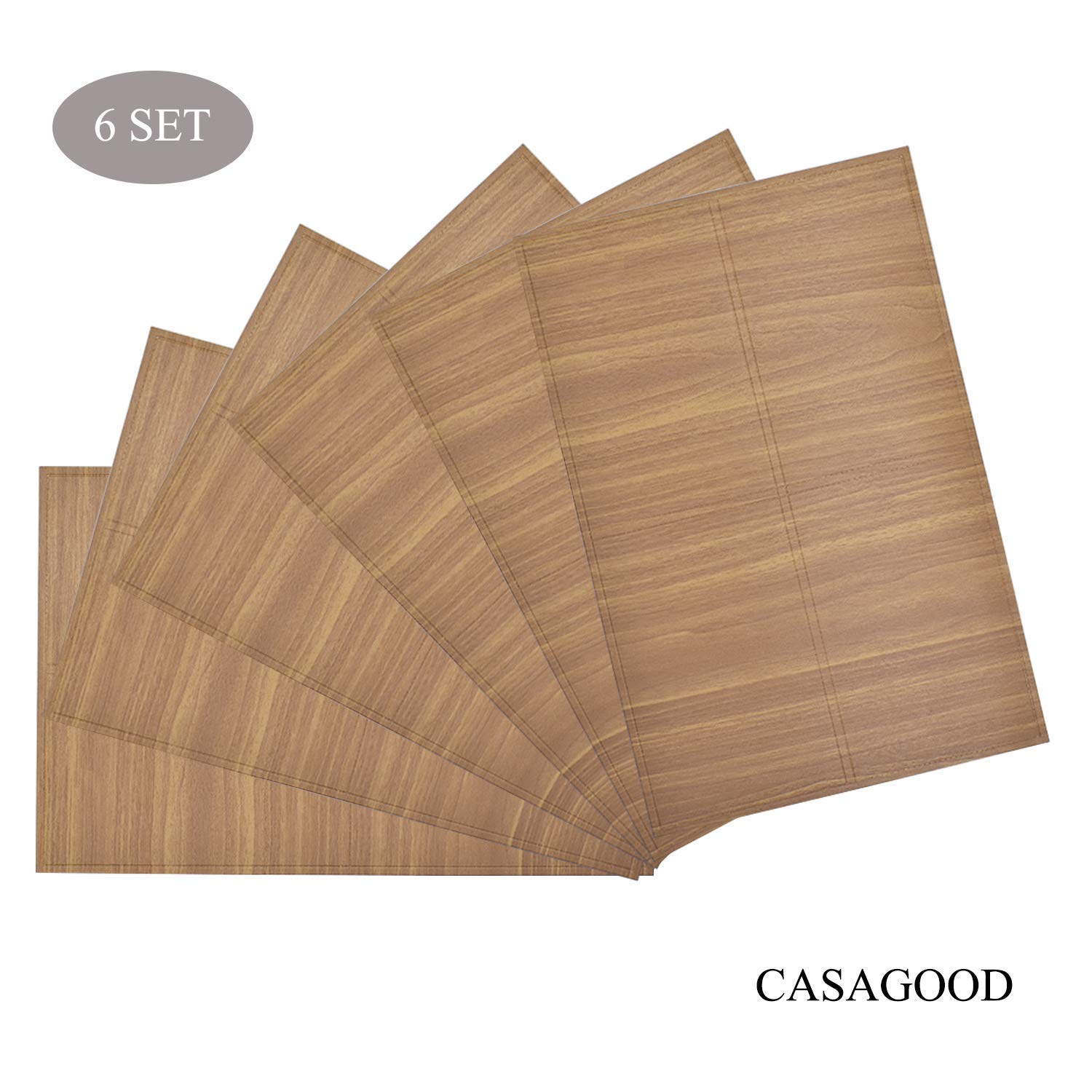 CASAGOOD Plastic Placemats Wood Grain Waterproof Non-Slip Kitchen Decor Mats Dining Table Place Mats Heat & Stain Resistant Coffee Mats Easy to Clean Set of 6-17.3''x11.4'' (Original)