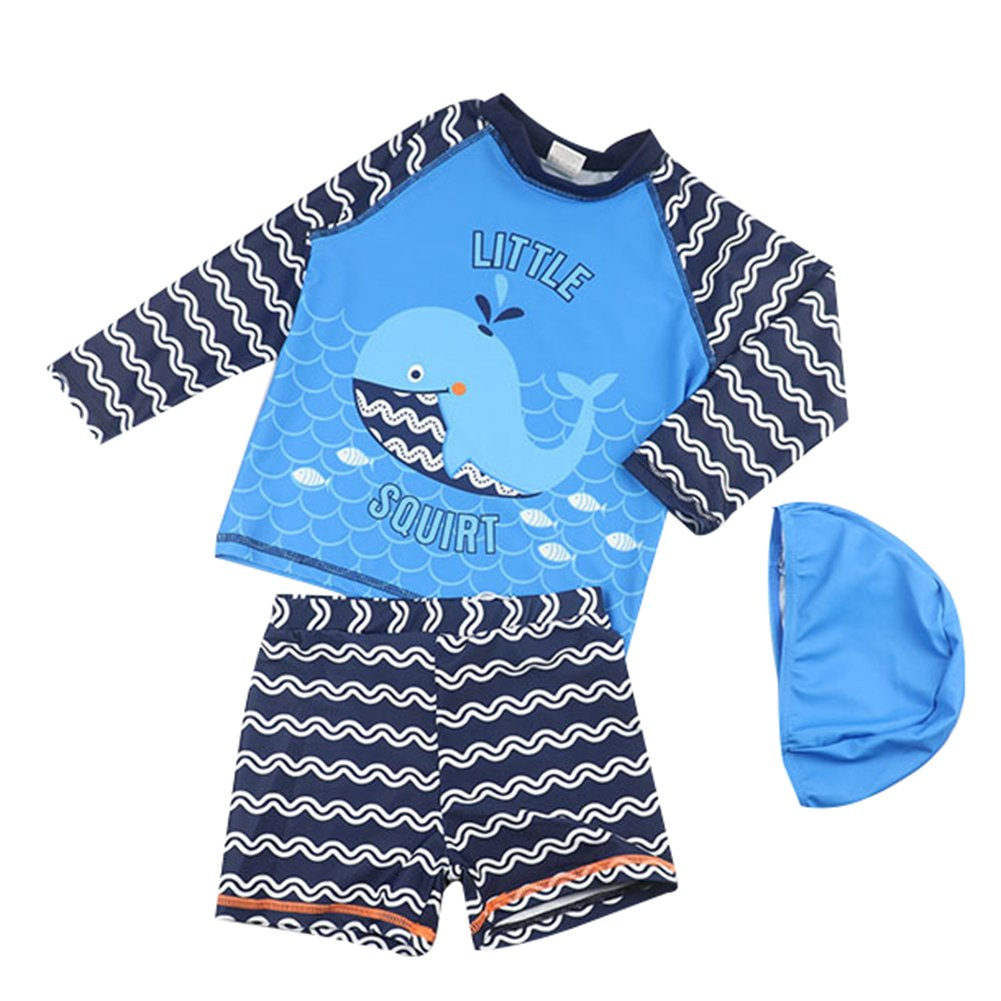 Kids Boy Swimsuit Set Sun Protection Rash Guards Two Piece Bathing Suit Swimwear with Hat LZ-TYY-153