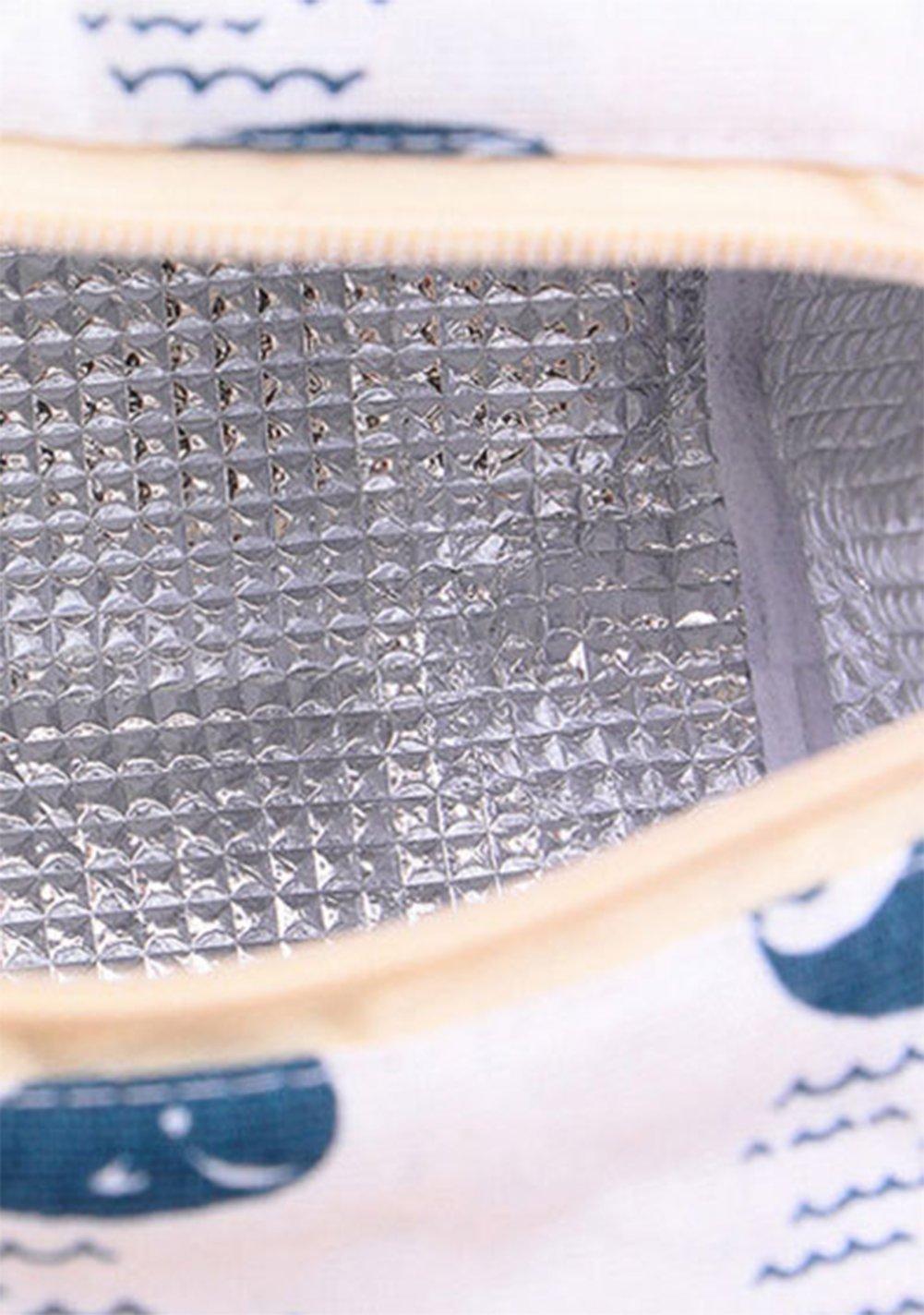 hosaire Borsa porta-pranzo pratica scatola di plastica sacchetto di pranzo in tela S balena motivo di orso borsa a mano grande capacit/à Borsa di viaggi