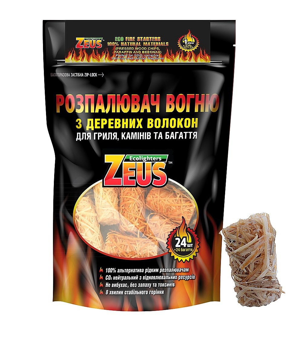 Gift4Soul BBQ Fire Starter |Natural Charcoal Starters for Grill (Kamado Joe, Big Green Egg, Weber) | Odorless and Non-Toxic ECO Fire Starter (1bag - 24 Pieces) Zeus