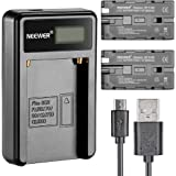 Neewer Micro USB Battery Charger + 2-Pack 2600mAh NP-F550/570/530 Replacement Batteries for Sony HandyCams, Neewer…