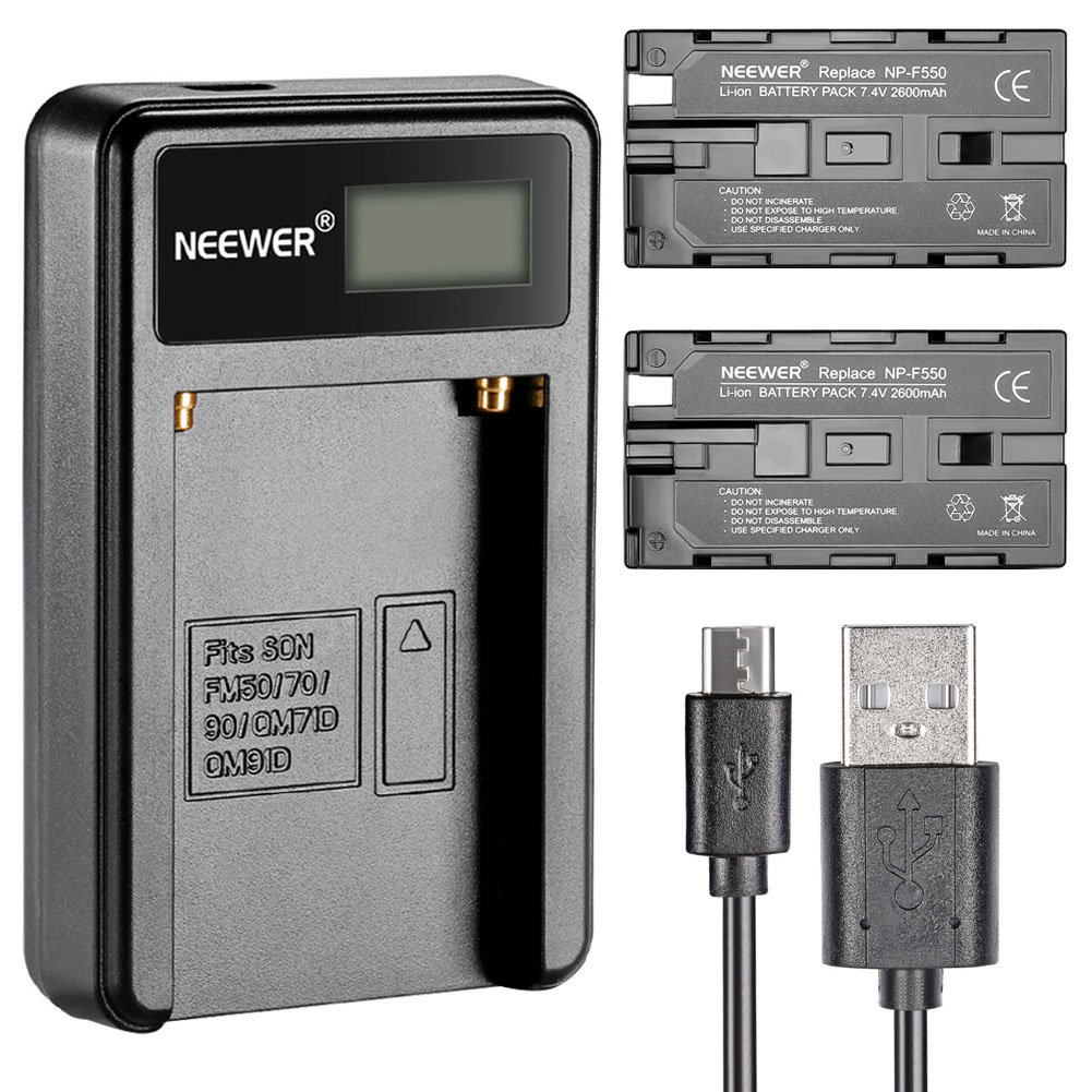 Neewer Micro USB Battery Charger + 2-Pack 2600mAh NP-F550/570/530 Replacement Batteries for Sony HandyCams, Neewer Nanguang CN-160,CN-216,CN-126 LED Light, Polaroid On-Camera Video Lights by Neewer
