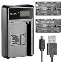 Neewer  Micro USB Chargeur de Batterie + 2-Pack 2600mAh NP-F550 / 570/530 Batteries de Remplacement pour Sony Handycam, Neewer Nanguang CN-160, CN-216, CN-126 LED Lumière, Polaroid Sur-Caméra Torches Vidéo