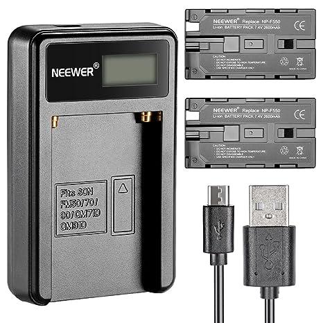 Neewer® Cargador de batería Micro USB + 2 baterías de Repuesto de 2600 mAh NP-F550/570/530 para Sony HandyCams, Neewer Nanguang CN-160, CN-216, CN-126 ...