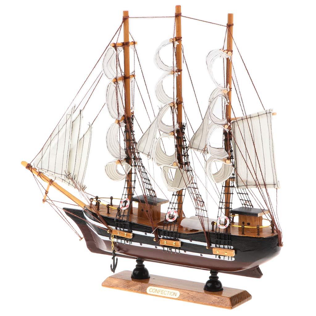 MagiDeal Retro Vintage Wooden Sailboat Sailing Boat Model Decorative Ship Statue Home Office Desk Display Decor Gift #F non-brand