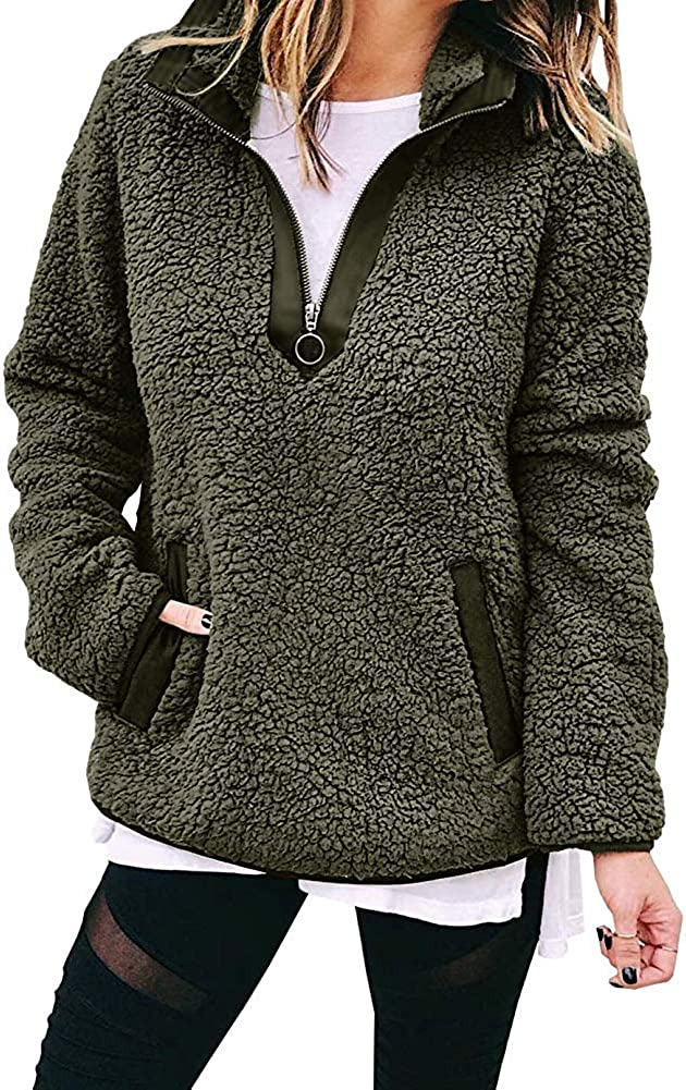 Zipper Fuzzy Sherpa Fleece Pullover Sweatshirt Outwear with Pocket Warm Winter ECHOINE Womens Fleece Pullover