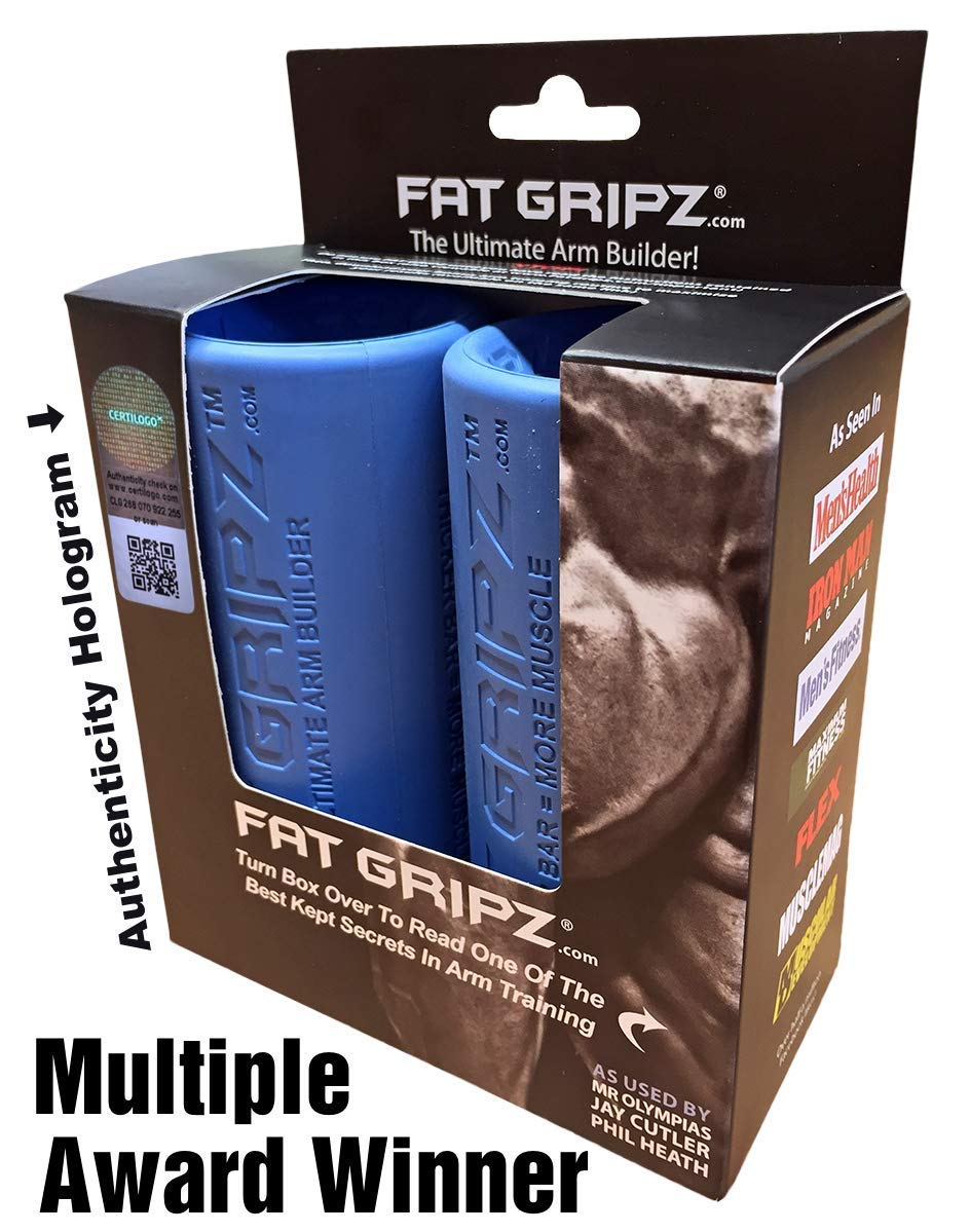 Fat Gripz – The Ultimate Arm Builder 2.25 Diameter, Most Popular, Original, Blue Renewed