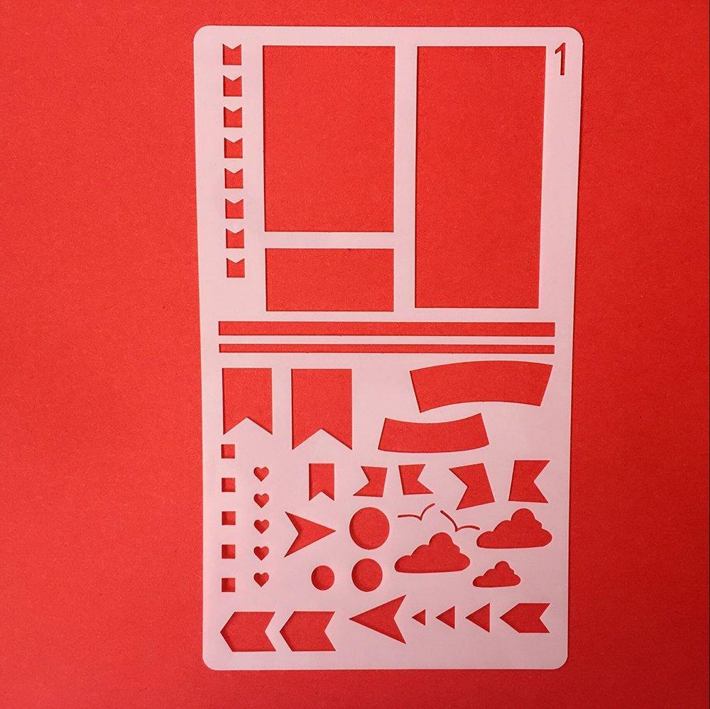 Modelli di disegno in plastica Progetto artigianale fai-da-te adatto per Planner/Notebook / Diario/Scrapbook Hilai