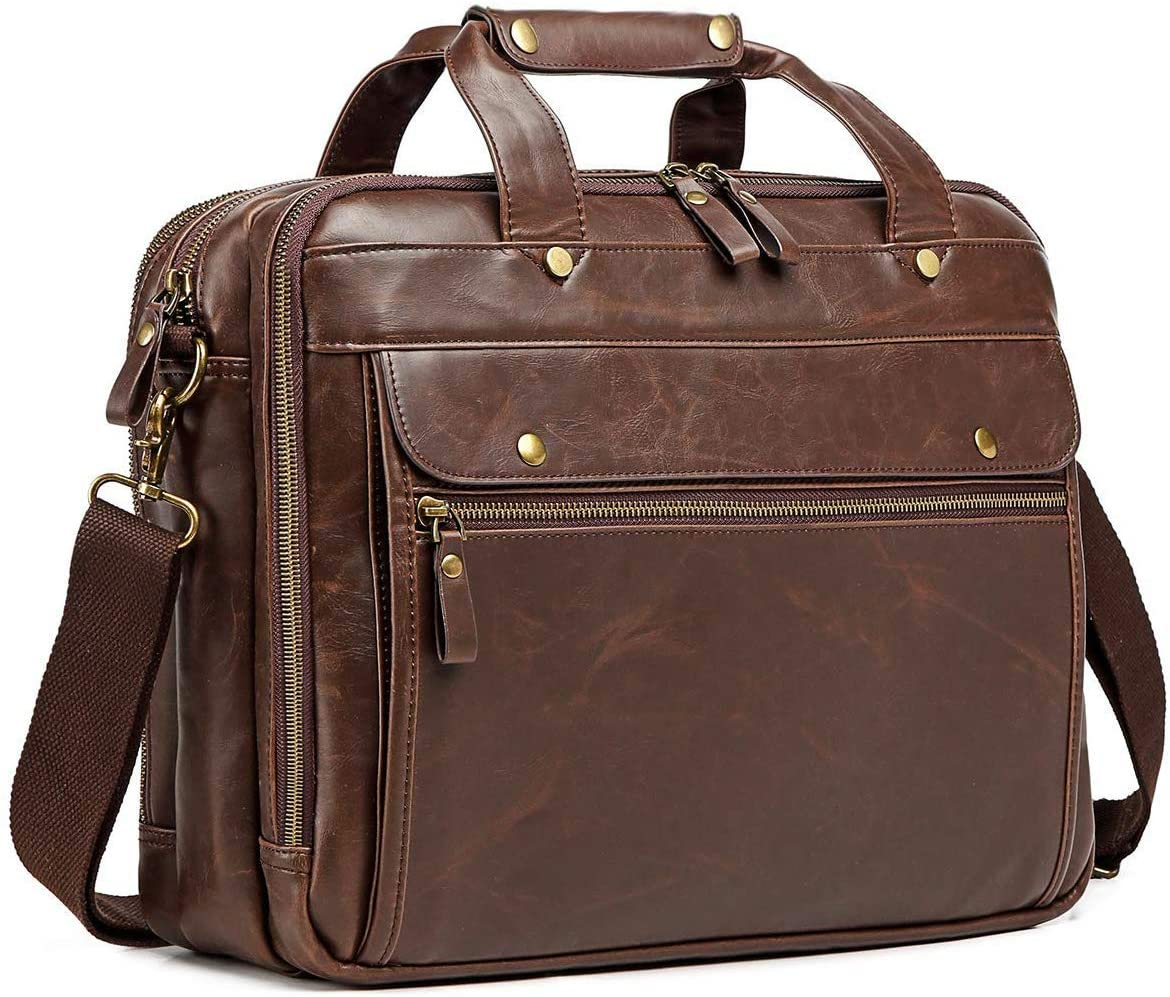 Leather Briefcase for Men Computer Bag Laptop Bag Waterproof Retro Business Travel Messenger Bag For Men Large 15.6 Inch,Perfect Fathers Day Gifts for Dad/Gifts For Husband (Brown)