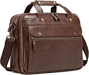 Leather Briefcase for Men ComputerBag Laptop Bag Waterproof Retro Business Travel Messenger Bag For Men Large 15.6 Inch,Perfect Fathers Day Gifts for Dad/Gifts For Husband (Brown)