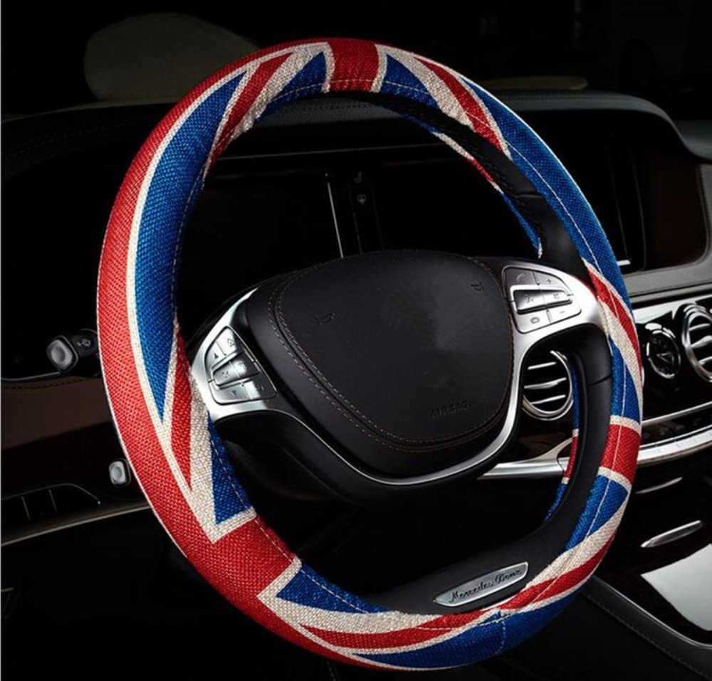 Car Steering Wheel Cover Great Canvas Linen British Union Jack Flag Fit Most Car 38cm Steering Wheel