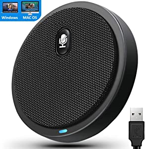 USB Desktop Microphone with Mute Button, Conference Microphone, Plug&Play Condenser,Computer, PC, Laptop, Mac, LED Indicator -360 Omnidirectional -Recording, Home Office, YouTube, Gaming, Streaming