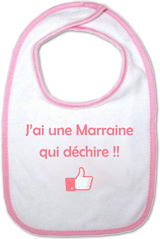 Yonacrea Bavoir Rose B/éb/é Jai une Marraine qui d/échire !!