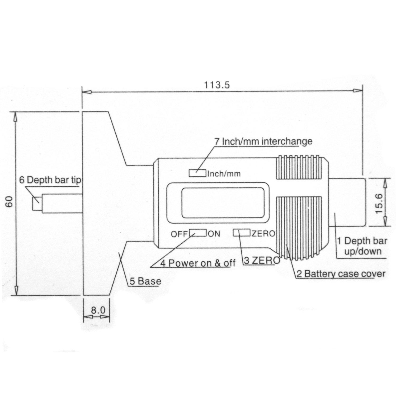 TRIXES Medidor Digital de Profundidad del Dibujo de los Neum/áticos para Coches Bicis y Caravanas