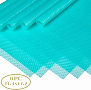 Bloss 6pcs Fridge Shelf Liner,Refrigerator Mats Support Cutting Clear Drawer Liner for Kitchen 11.4 x 17.7 Inch in Blue