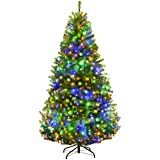 Goplus 6FT Pre-Lit Artificial Christmas Tree Auto-Spread/Close up Branches 11 Flash Modes with Multicolored LED Lights…