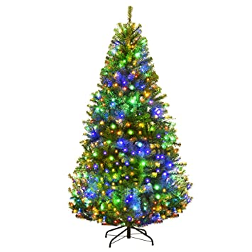 Goplus 6ft Pre Lit Artificial Christmas Tree Auto Spread Close Up Branches 11 Flash Modes With Multicolored Led Lights Metal Stand