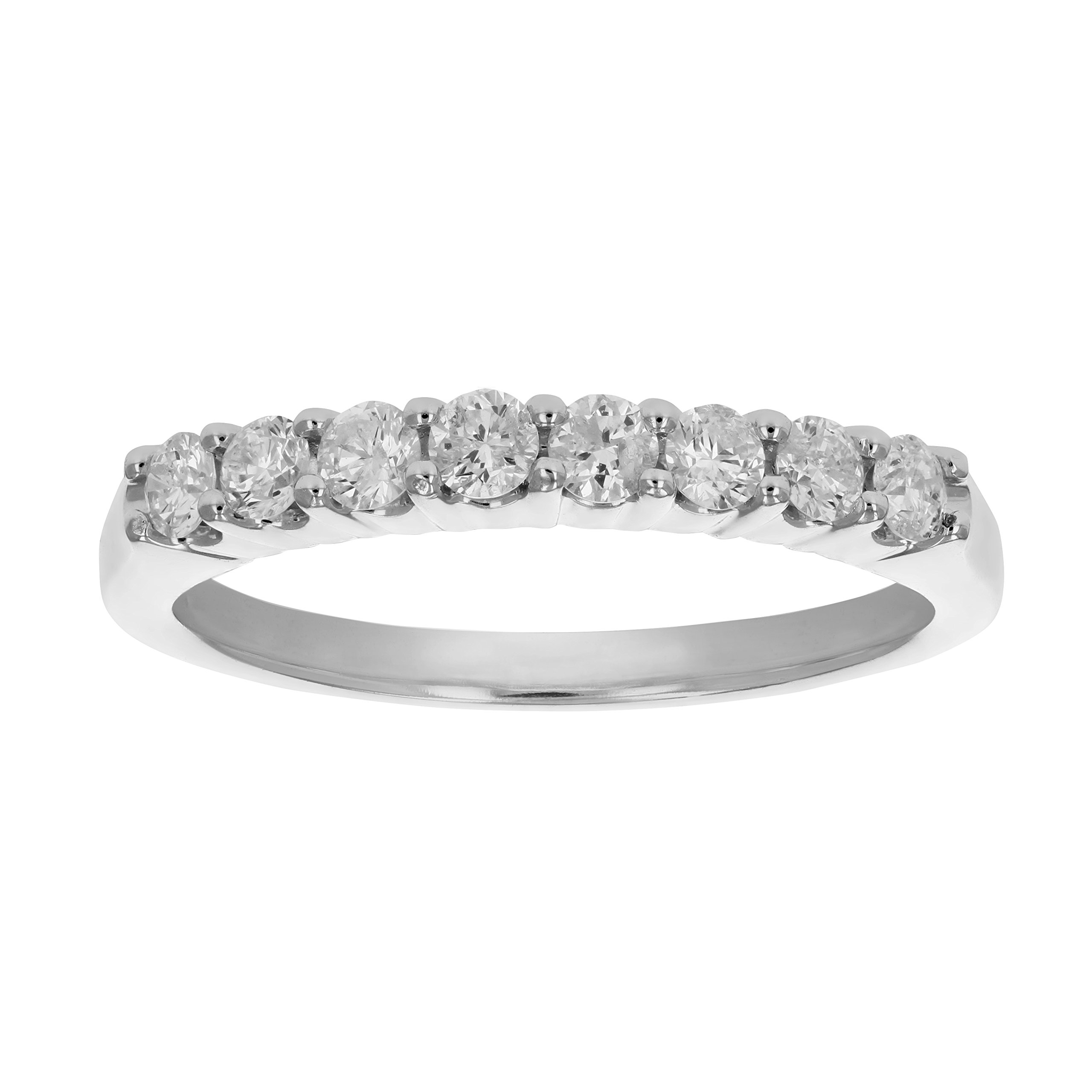1/2 CT AGS Certified I1-I2 Diamond Wedding Band Prong Set 14K White Gold Size 7