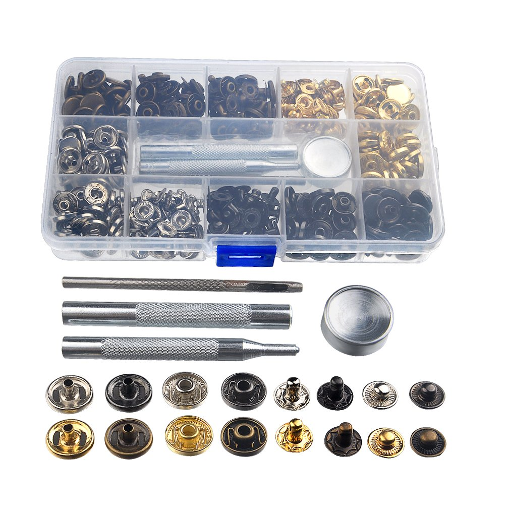100Sets Fastener Snap Button Tool Kit Press Studs for Clothing, INHDBOX Metal Snaps Fastener Set with 4pcs Fixing Tool