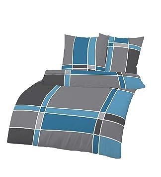 Unbekannt 2 Teilig Biber Bettwäsche 155x220 Cm Karo Grau Blau