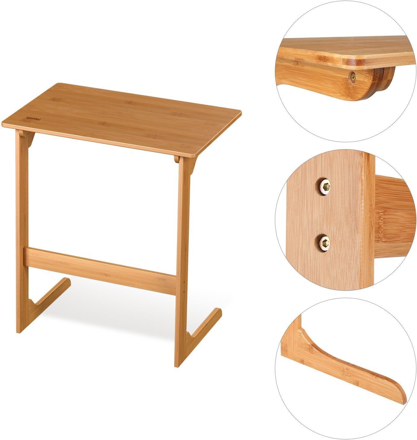 Homfa Tavolino PC da Letto in Legno Desk Porta Computer Scrivania Tavolo bamb/ù da Lavorare da Divano 55 /× 35 /× 62cm