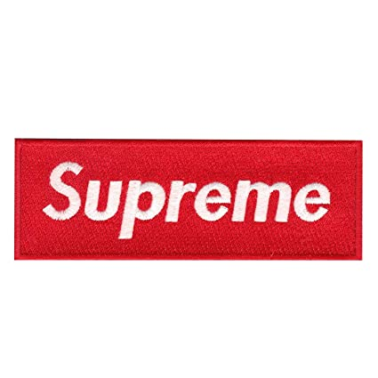 Red Supreme Box Logo Diy Iron On Embroidered Applique Patch Ca Luge Bags