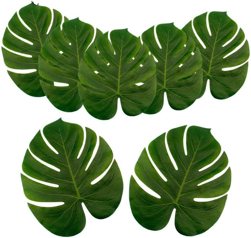 ILAWS Tropical Palm Leaves - Faux Palm Leaves – Large Palm Leaves Decorations - 24pcs Large Size (13.8 by 11.4inch) Artificial Tropical Palm Leaves for Party, Wedding; Hawaiian; Luau Decoration
