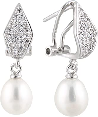 925 Sterling SIlver Earrings 7.5-8mm White Handpicked AA Quality Cultured Freshwater Pearls CZ Accent