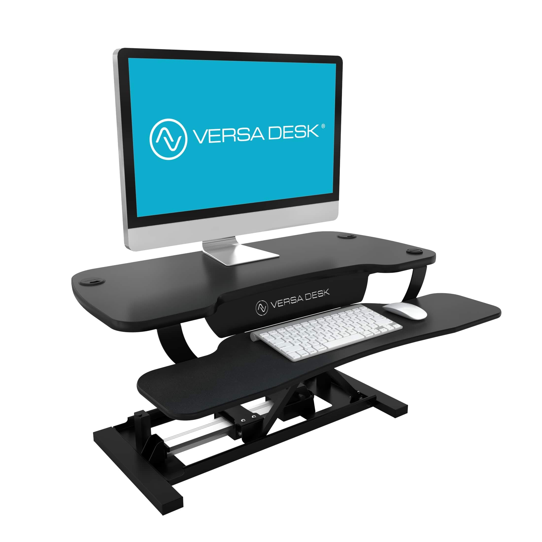 VersaDesk Power Pro - 36'' Electric Height-Adjustable Desk Riser - Sit to Stand Desktop with Keyboard and Mouse Tray - Black