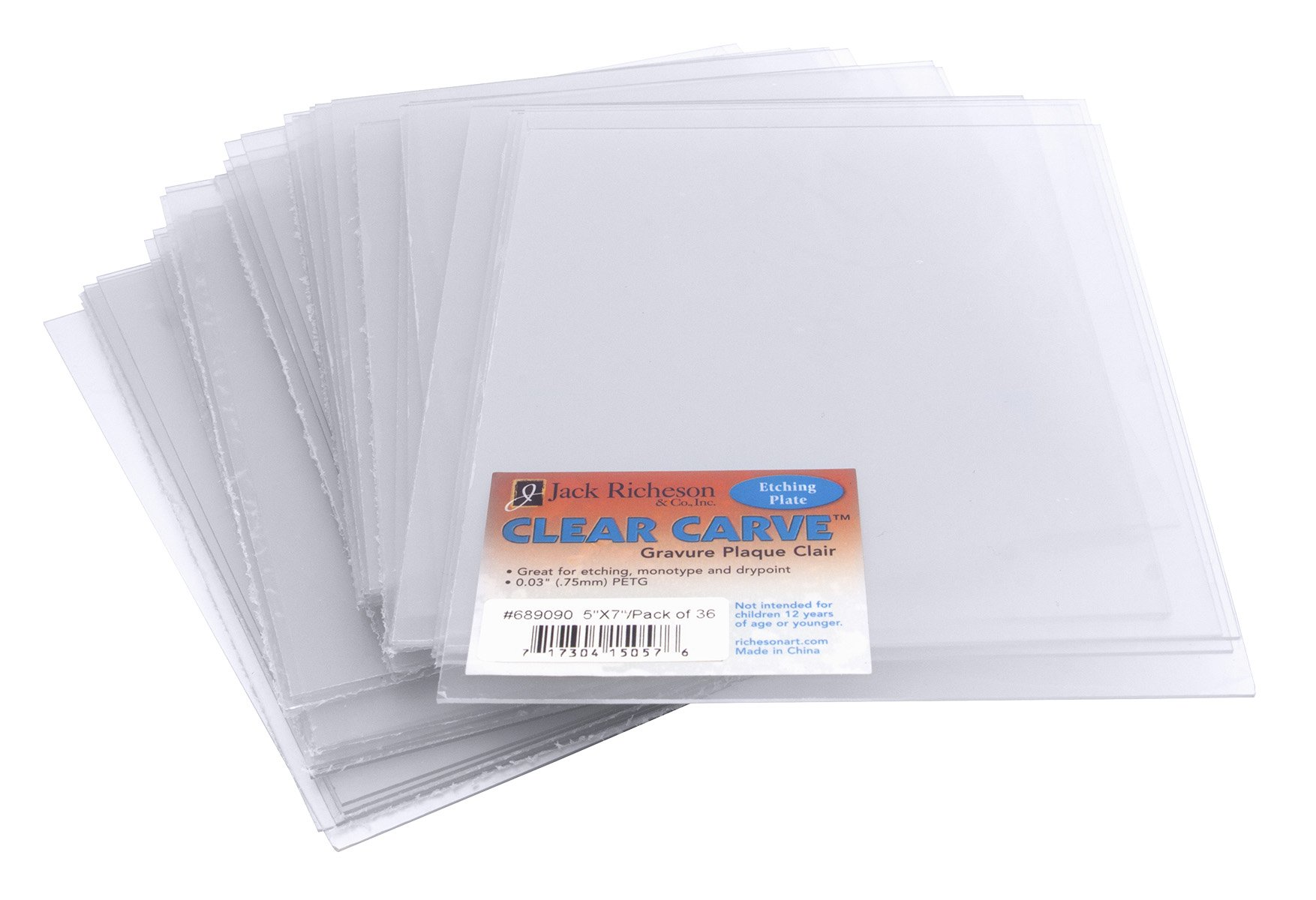 Jack Richeson Carve 36 Pack Etching Plate, 5'' x 7'', Clear