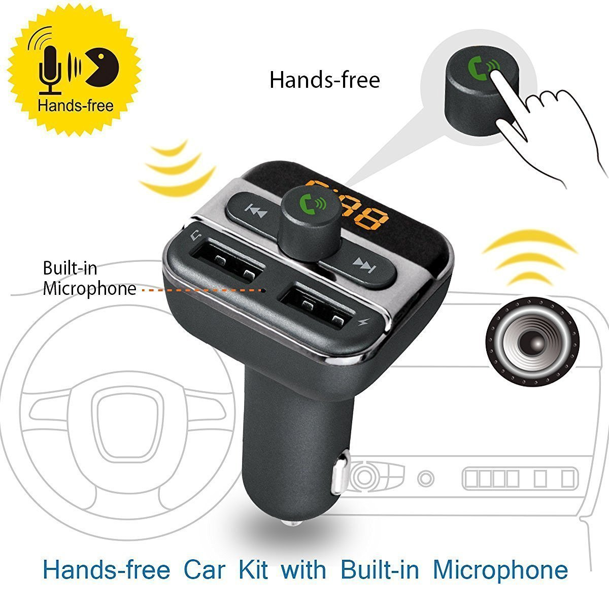 Bluetooth Car Kit Fm Transmitter Kinnara Wireless Bt20 Dual Usb Charger Mp3 Wma Audio Hands Free Call 5v 34a Support Tf Card Music Pl Modulator Radio Adapter With Led Display 21a Output Player Flash