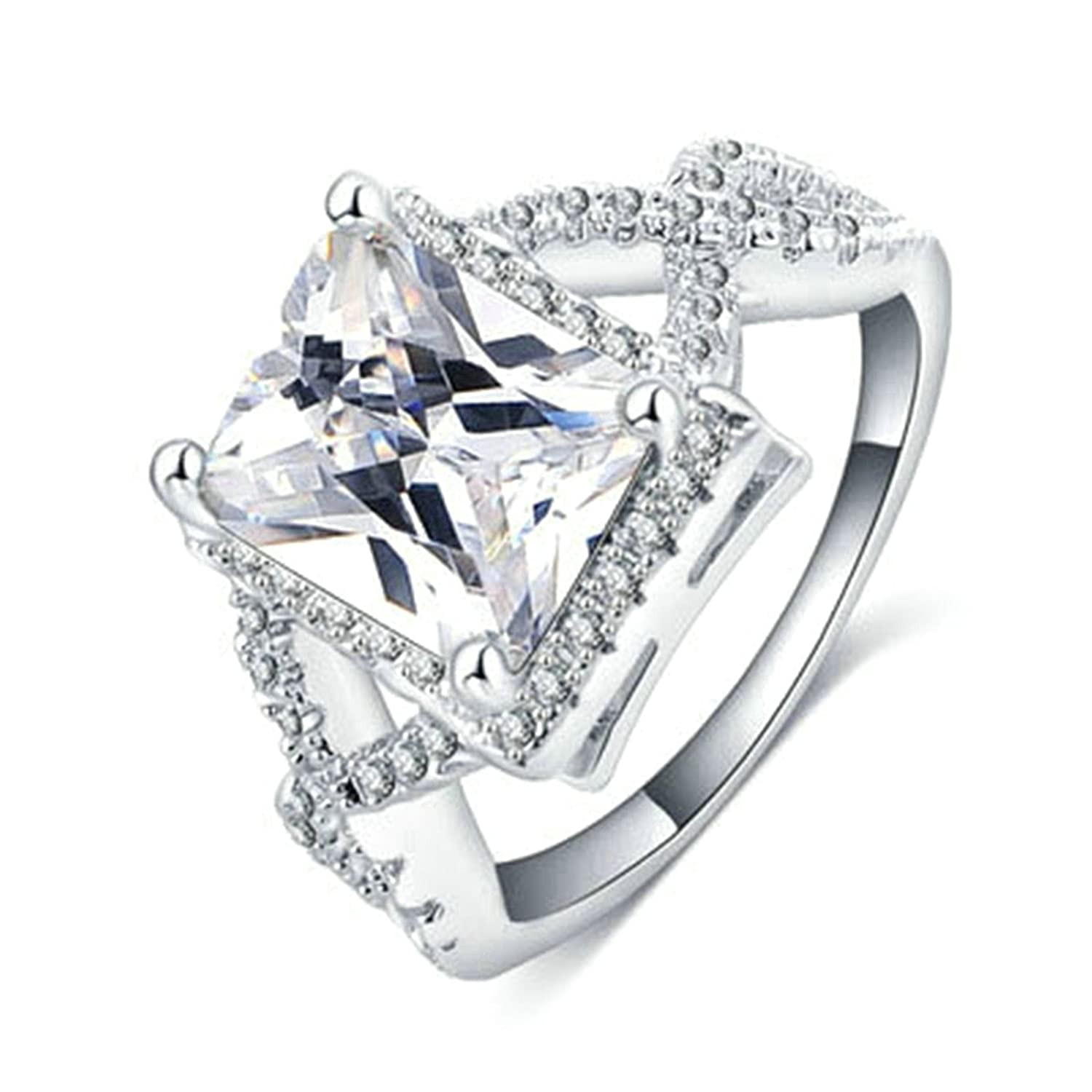 Gnoze His or Her Stainless Steel Solitaire Cubic Zirconia Heart Engraved Wedding Rings Size 8