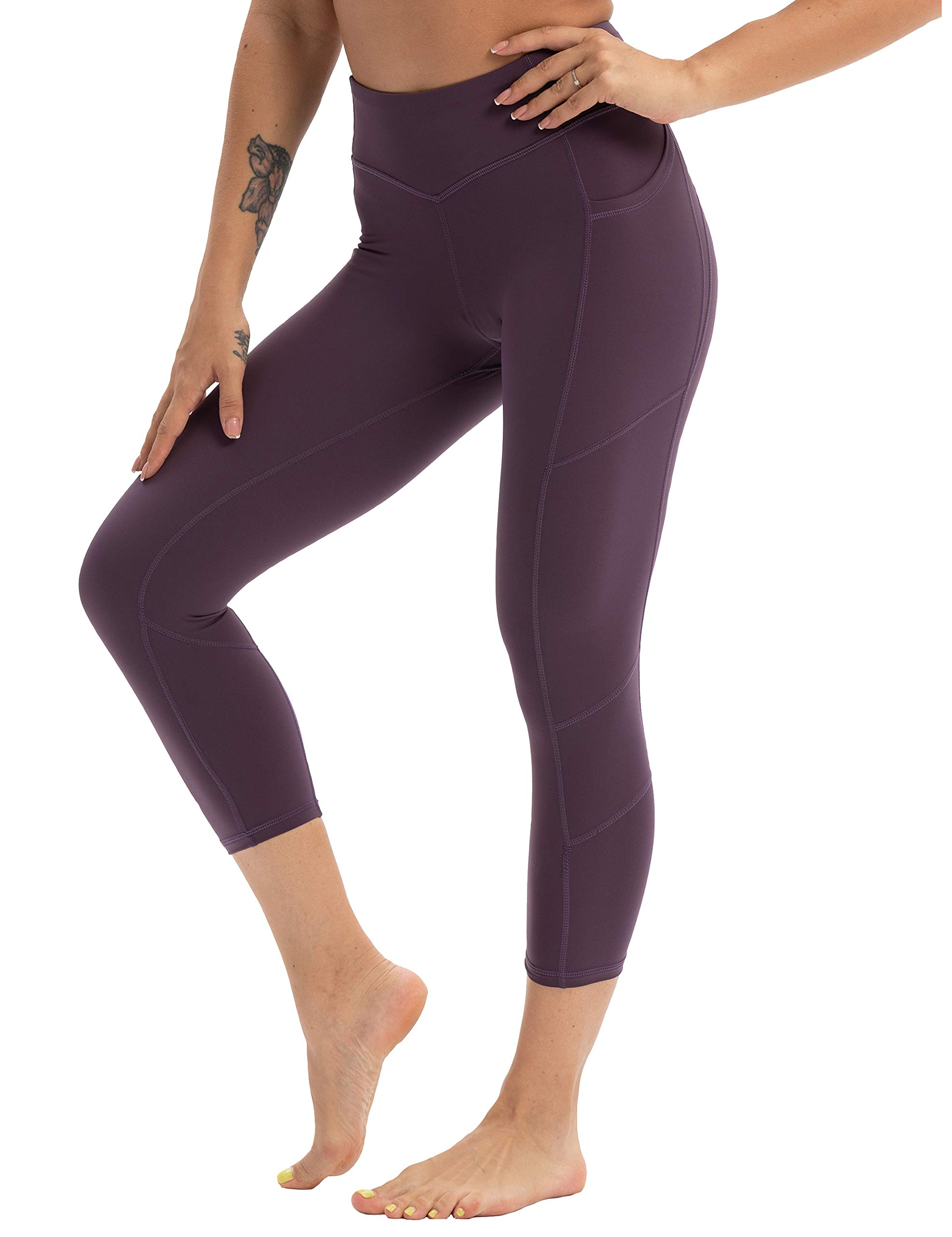 Hopgo Women's 3/4 Workout Legging Crop Yoga Pants Tummy Control Sports Tights BlackBerry US S